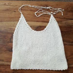 NWT Express Boho Festival Crochet Halter Crop Top